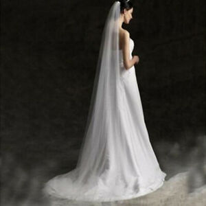 AU-Long-Prom-Gown-Simple-Wedding-Bridal-Veil-Cathedral-With-Comb-2M-WH2