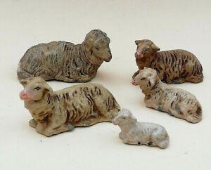 alte-Krippenfiguren-5-x-Schafe-Gips-bis-zu-L-7-5-cm