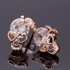 1 Pair Skull Shining Rose Gold Ear Drop Ear Stud Earrings Jewelry Accessories