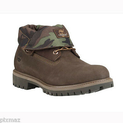 Timberland Men's Roll Top Camo Leather Brown Rolltop Boots Style #6834A