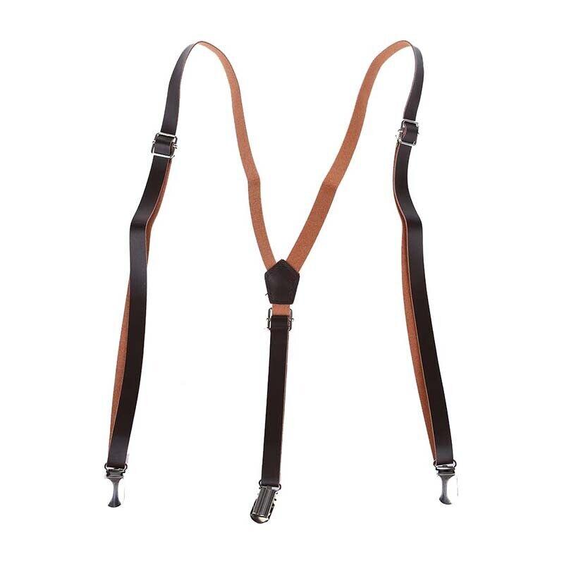 2X(Coffee Faux Leather Adjustable Band Suspenders Braces W7W7) z1