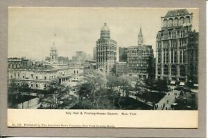 Postcard-NY-City-Hall-Printing-House-Square-Street-Scene-Skyline-c1907-492