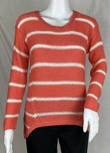 884253392418 Quinn Coral Orange   White Stripe Open Knit Sweater Hi-Lo Hem Pull ...