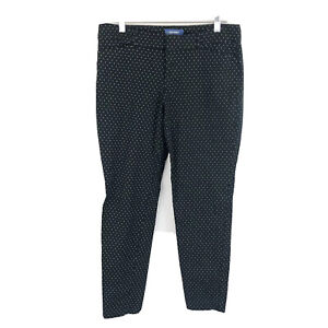 Old-Navy-Pixie-Pants-Mid-Rise-Black-White-Ankle-Stretch-Career-Womens-Size-12