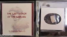 """SAMURAI SILVER BAR 1853- 1865 JAPAN ISSHU GIN COIN """"The Samurai's Last Paycheck"""""""
