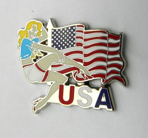 USA UNITED STATES FLAG WITH NOSE ART GIRL STYLE EMBLEM LAPEL PIN BADGE 1 INCH