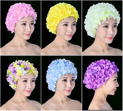 Multi-Coloured Women Vintage 3D Floral Flower Spa Swimming Swim Cap Bathing Hat