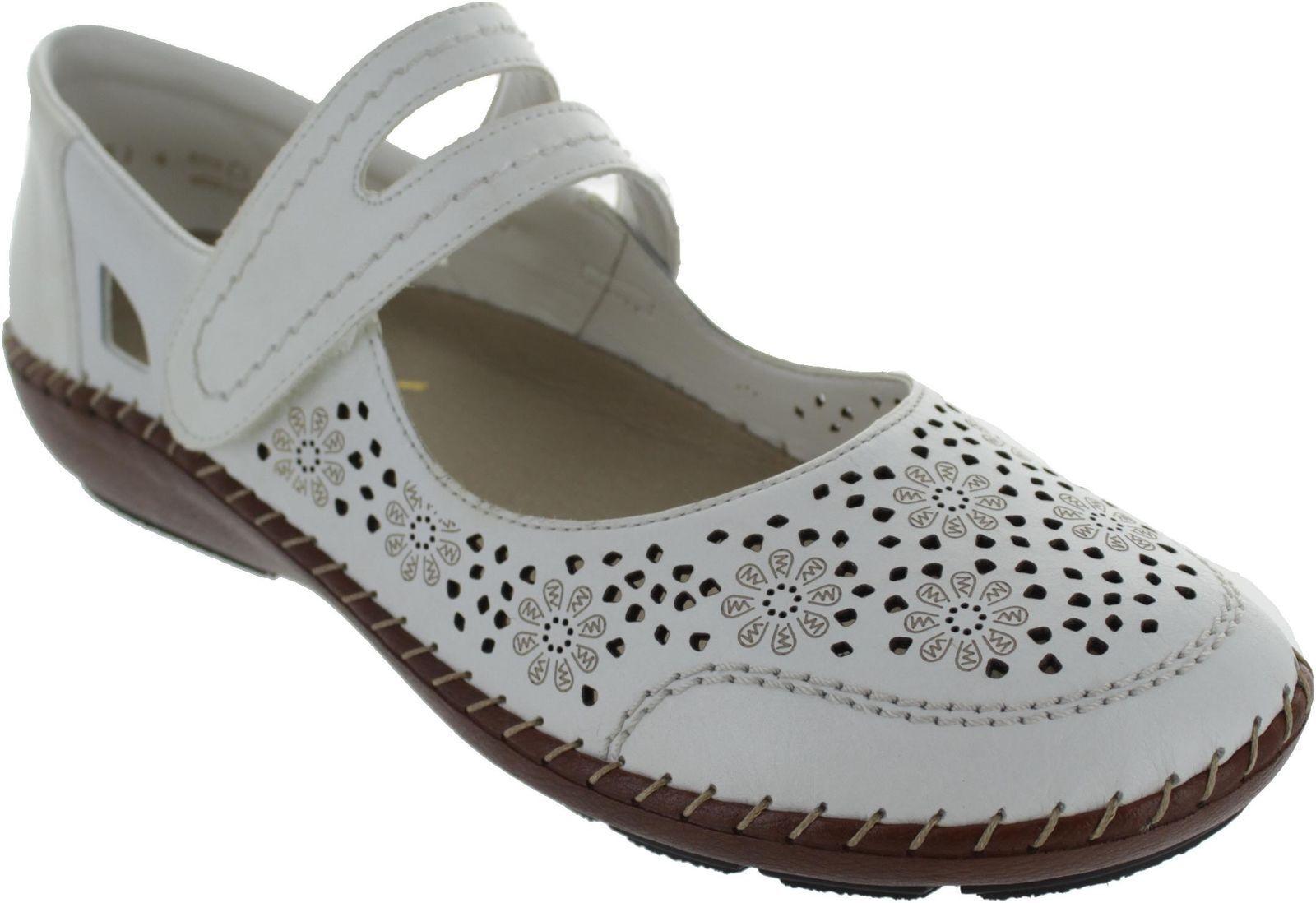 Rieker 44875-80 Damen Komfort Schuhe zerissen Band Verschluss weiß weiß weiß UK 4-7.5 ( a7e4b4