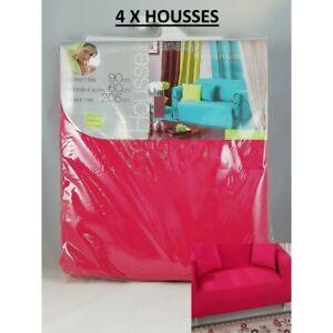 Lot 4X Housse de Canapé 3 Personnes Places Stretch 90 x 205 cm Couleur Rose