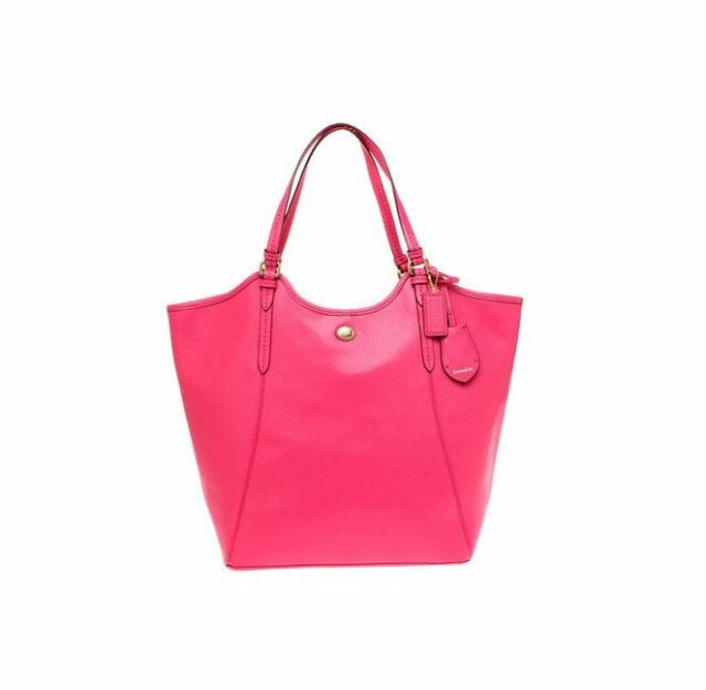 210a948fb008 Coach F26103 Peyton Leather Large Tote Pink Coral