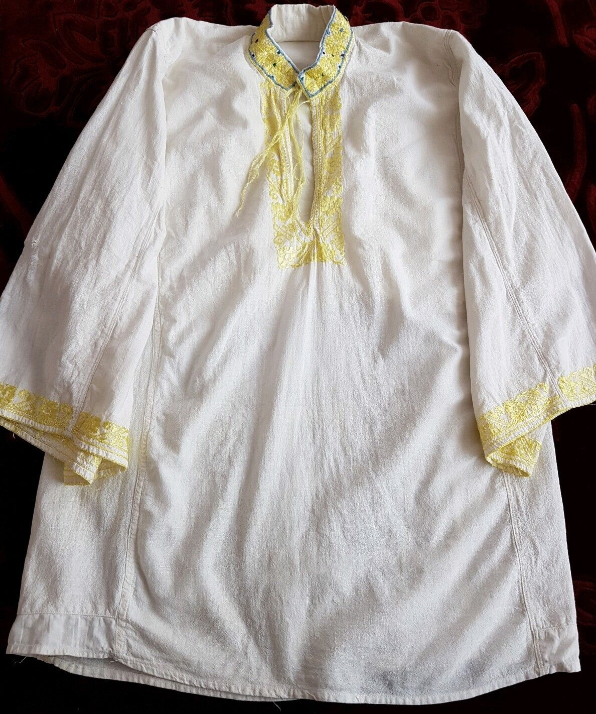 MENS Vintage hand embroiderot Romanian blouse silk embroidery