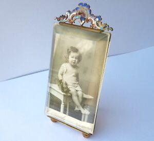 Latón Esmalte Francia Alrededor 1880 – 1900 Al400 Pure Whiteness Fast Deliver Imagen Marco / De Fotos
