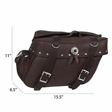 Xelement 2918-BR Brown Distressed Leather Braided Motorcycle Saddlebag