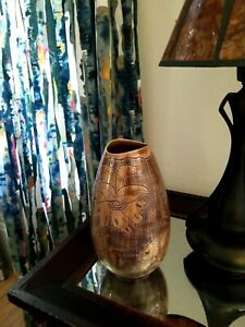 """Handmade Pottery Vase ~ 10"""" tall ~ Brown Floral Texture"""