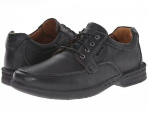 Image is loading Clarks-Mens-Untilary-Pace-Black-Leather-Wide-Fit-