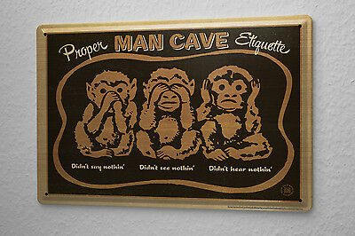 Tin Sign Nostalgic Motif  Listen Proper Man Cave Etiquette seen say anything