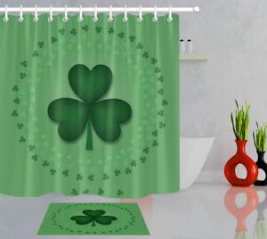 Patrick/'s Day Green Clover Pattern Waterproof Fabric Shower Curtain Bath Mat St
