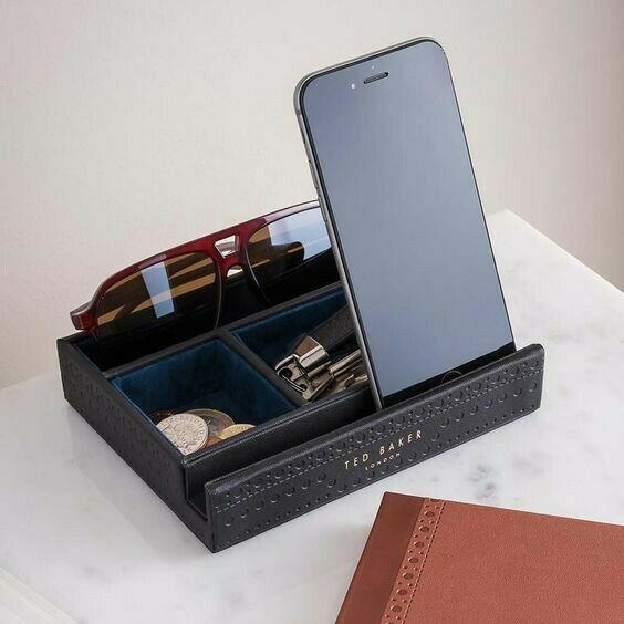 Ted Baker Black Brogue Monkian Valet Luxury Tray in Gift Box Perfect Xmas Gift🎄