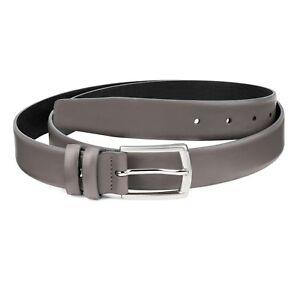 e383c8c6b01 Grey Leather Belt for Men Gray Men s Belts Smooth Genuine Italian ...