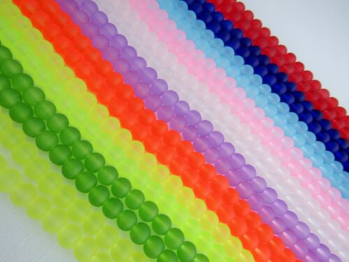 135 pcs Frosted Round Glass Beads Strands Jewellery Making 6 mm