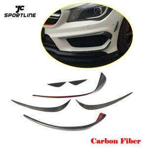 Carbon-Bumper-Side-Blade-Splitter-Canards-for-Mercedes-CLA45-AMG-C117-X117-6PCS