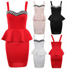 Ladies Strap Diamante Boobtube Peplum Frill Short Bodycon Women's Dress 8-14