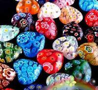 Wholesale Lots 100pcs Shining Heart Millefiori Glass Craft Beads 8mm Multi-Color