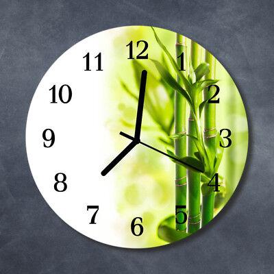 Echt-Glas Uhr Wanduhr Rund Küche 30 cm Deko Bambus grün