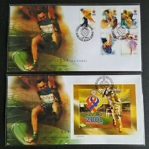 2001-Malaysia-Sports-XXI-SEA-Games-5v-amp-MS-on-2-FDC-mild-toned-S-N-008288-KL