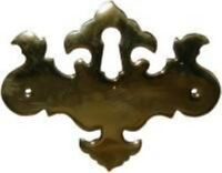 Polished Brass Chippendale Style Keyhole Cover Vintage Antique Restore Furniture