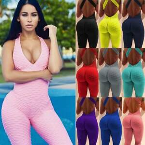 Women Anti-Cellulite Overall Yoga Pants Scrunch Jumpsuit Fitness Ruched Leggings