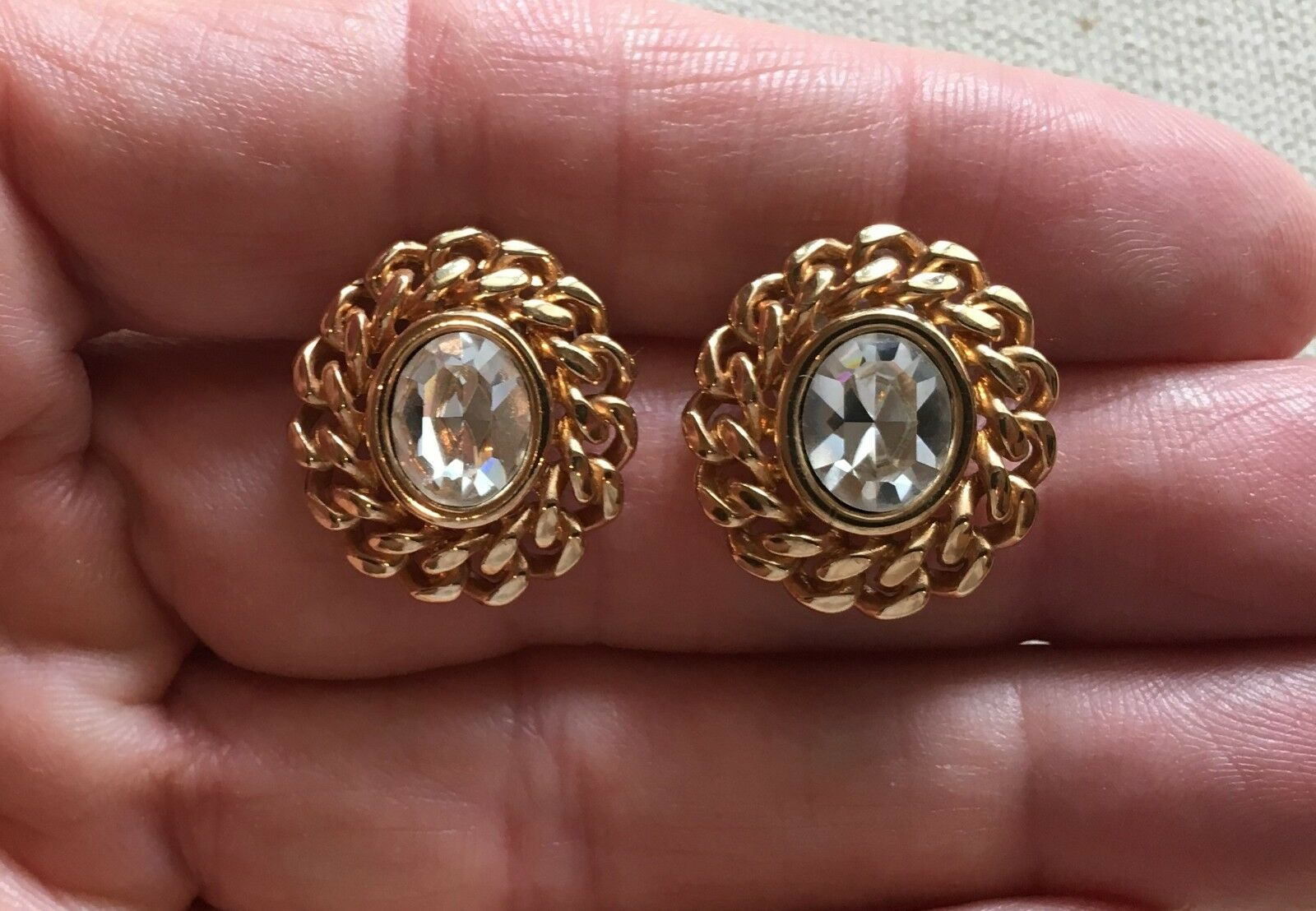 Vintage Swarovski Earrings Classic Chain & Crystal gold-Tone Oval Cluster 3 4