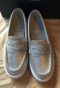 dc524c423bd Image is loading Cole-Haan-Girls-Pinch-LTE-Silver-Penny-Loafers-