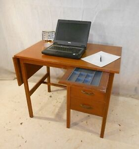 Image Is Loading Retro Teak Desk Vintage Computer Office
