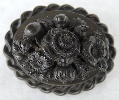 Antique Civil War Era Gutta Percha Mourning Domed Brooch * Flowers & Rope Trim