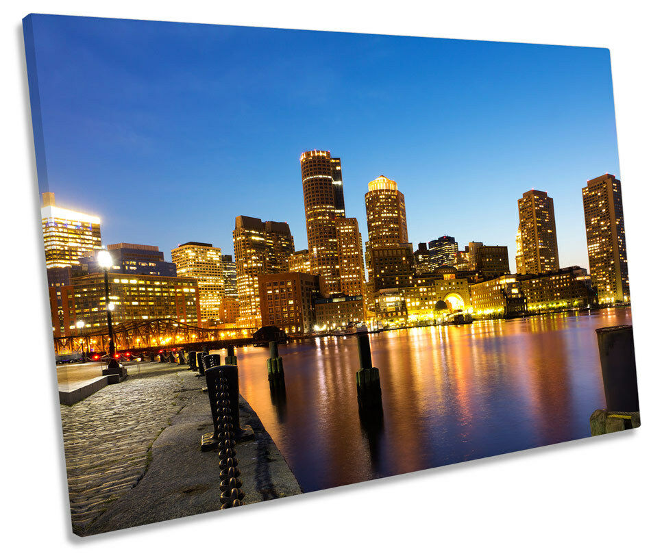 Boston Harbour Massachusetts SINGLE CANVAS WALL ART Print Picture