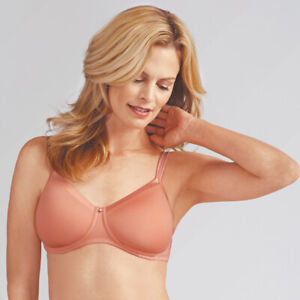 5364e81230323 NEW AMOENA LARA SATIN WIRELESS MASTECTOMY T-SHIRT BRA 36C  41589 ...