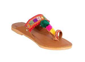 5ad39566a4f7f Image is loading Multi-Color-Ethnic-Designer-Party-Wear-Kolhapuri-Slipper-