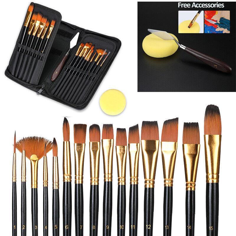 6Pcs Artist Paint Brushes Set Acrylic Oil Watercolour Painting Craft Art Brush C