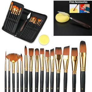 15PCS Pro Art Painting Brushes Set Acrylic Oil Watercolor Artist Paint Brush US