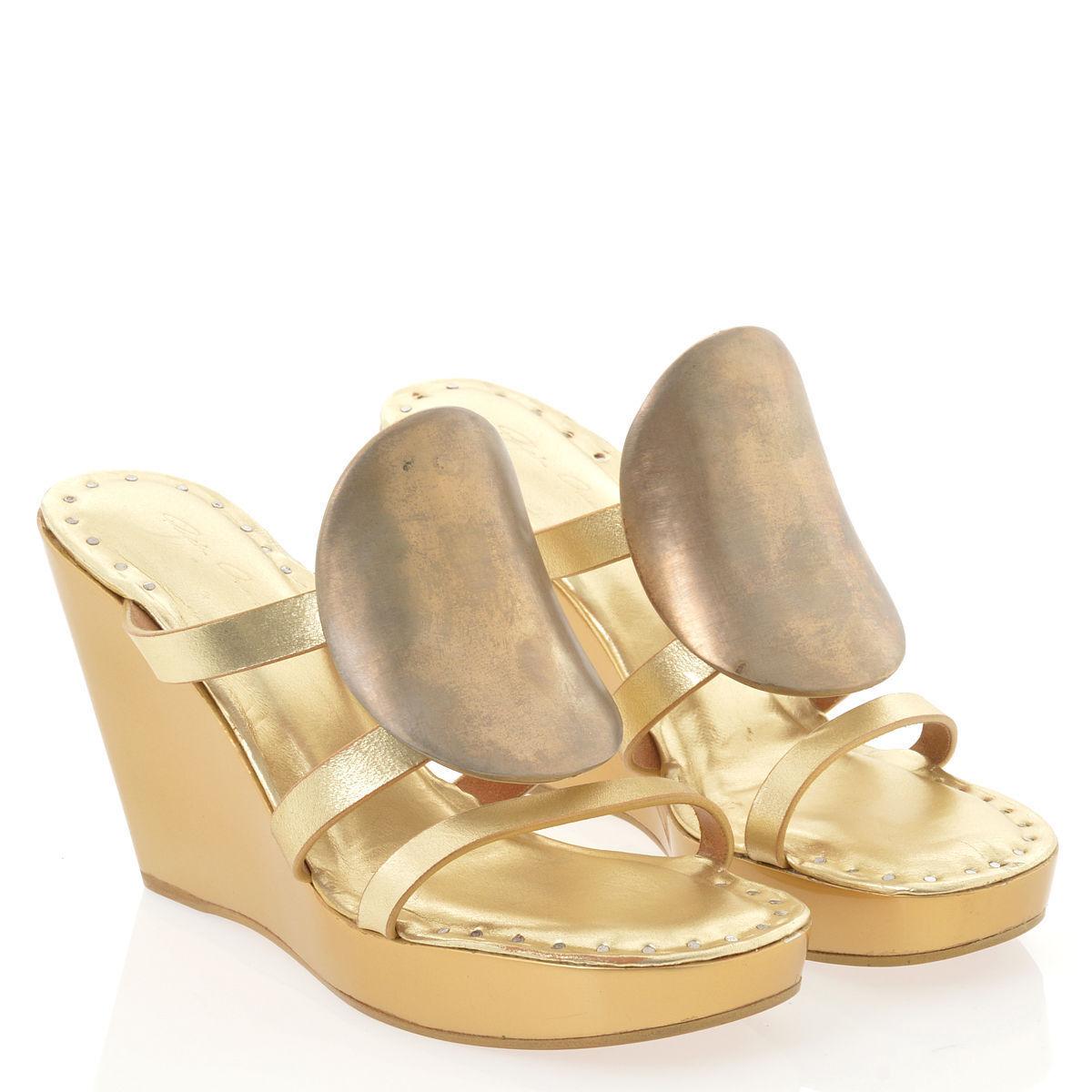 Zapatos de cuero nuevo disco de oro Rick Owens Zueco cuña sandalias Talle 41 \ 9.5US