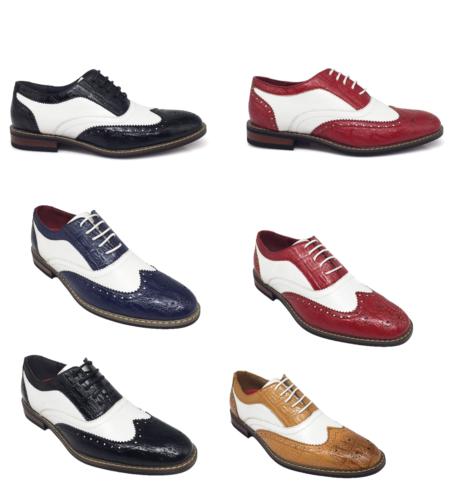 1930s Men's Clothing   New Men Dress Shoes Wingtip Oxford 2-tone Leather Lined Lace Up  $32.24 AT vintagedancer.com
