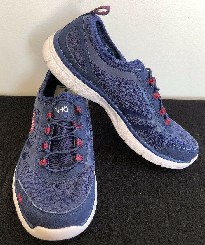 New RYKÄ Women's Navy bluee Red White Memory Foam Slip On Athletic shoes Size 6