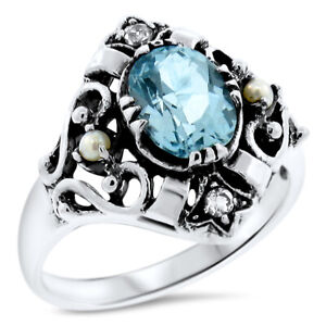 #204 5 CT GENUINE SKY BLUE TOPAZ PEARL ANTIQUE STYLE .925 STERLING SILVER RING