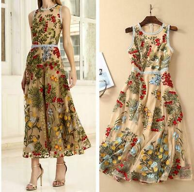 PGM06 Women Designer Inspired  Floral Applique Sleeveless Maxi Dress PLUS SIZE
