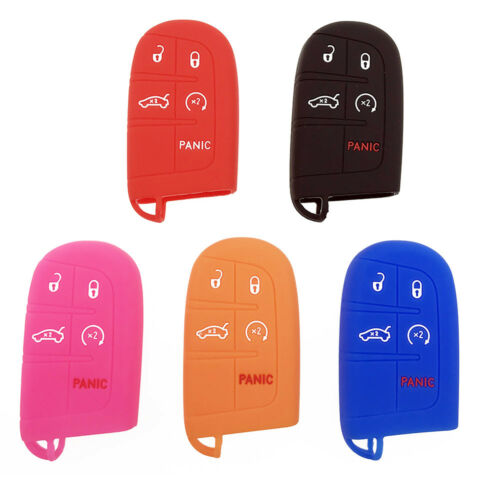 Fit For Jeep Chrysler Dodge Charger Silicone Key Fob Cover Shell Case 5-Buttons