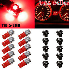10x T10 Red PC194 LED Bulb Instrument Panel Cluster Dash Light Twist Lock Socket