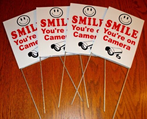 4 SMILE YOU/'RE ON CAMERA Coroplast  YARD SIGNS 6 x 9 w// Stakes  NEW Security Whi