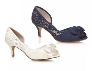 2f322aa22f88 Debut Danielle Womens Lace Mid Heel Peep Toe Shoes Slip On Wide Fit ...