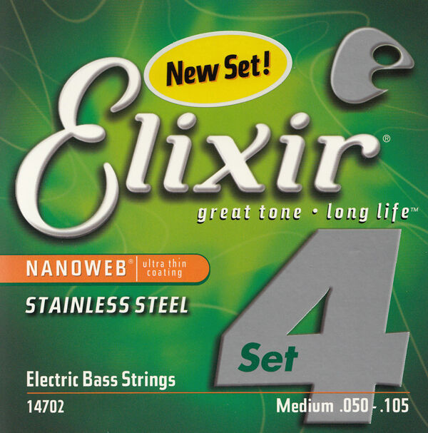 Elixir 14702 Stainless Steel Medium Gauge Long Scale Electric Bass Strings